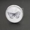 Svartvit fjäril, justerbar ring i ljus silverfärg