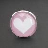 Hjärta på ljusrosa bakgrund, justerbar ring i ljus silverfärg